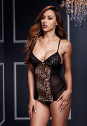 Leopard Basque W/ Garter Stays No Panty