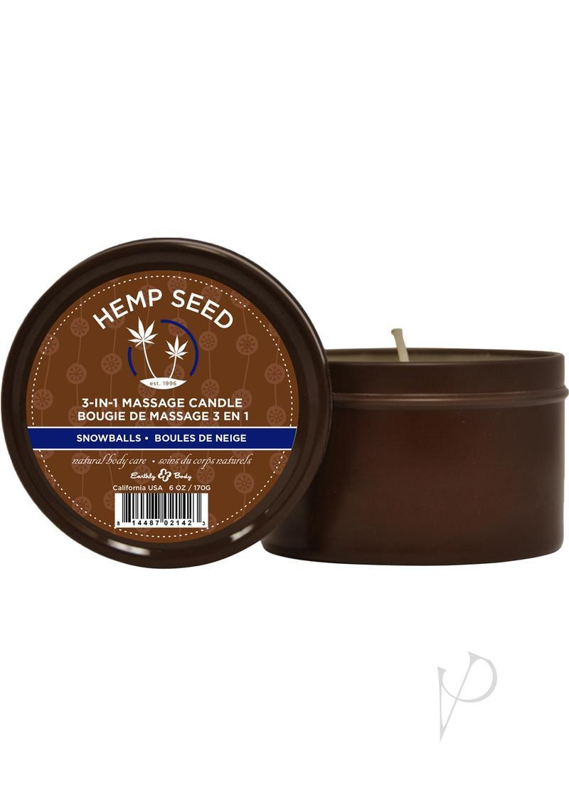 Hemp Seed 3 In 1 Massage Candle 100% Vegan Snowballs 6 Ounce Round Tin