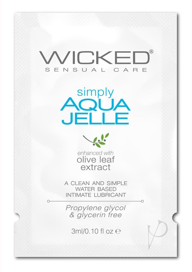 Wicked Sensual Care Simply Aqua Jelle Packette Water Based With Olive Leaf Extract .10 Ounce Foil, 144 Foils Per Bag
